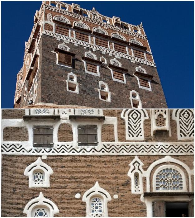 Отделка фасада соответствует традиционному оформлению йеменских усадьб («Dar al-Hajar», Йемен).