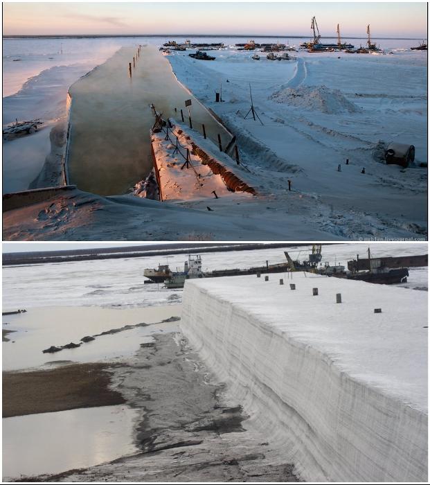 Пять месяцев в году команда из двух человек создает надежный ледовый щит на реке Хатанга (п-ов Таймыр).