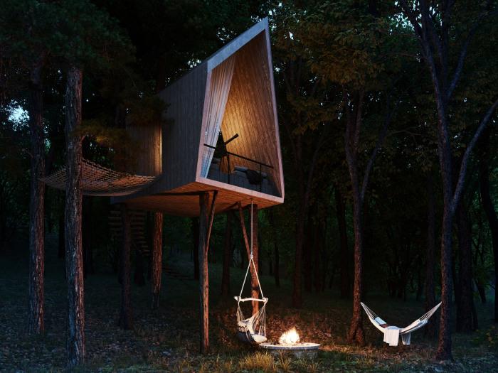 Домик на дереве будет прекрасным убежищем для влюбленных или неисправимых романтиков (концепт Sylvan Rock). | Фото: dezeen.com.
