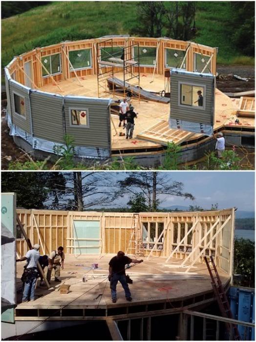 Процесс сборки аэродинамичного жилья много времени не забирает (дом производства Deltec). | Фото: deltechomes.com.