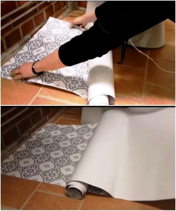 Сначала надо примерять отрезанное полотно, а потом лишь снимать бумажную подложку. | Фото: youtube.com.
