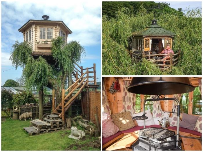 Домик на дереве с открытой террасой и зоной барбекю станет идеальным местом для отдыха всей семьи (Великобритания). | Фото: twizz.ru.