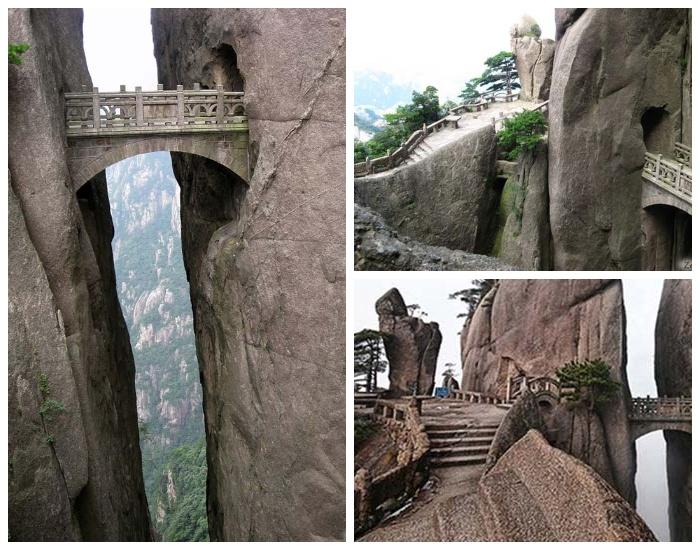К мосту Бессмертных ведут опасные извилистые тропы над пропастью (Huangshan, Китай).
