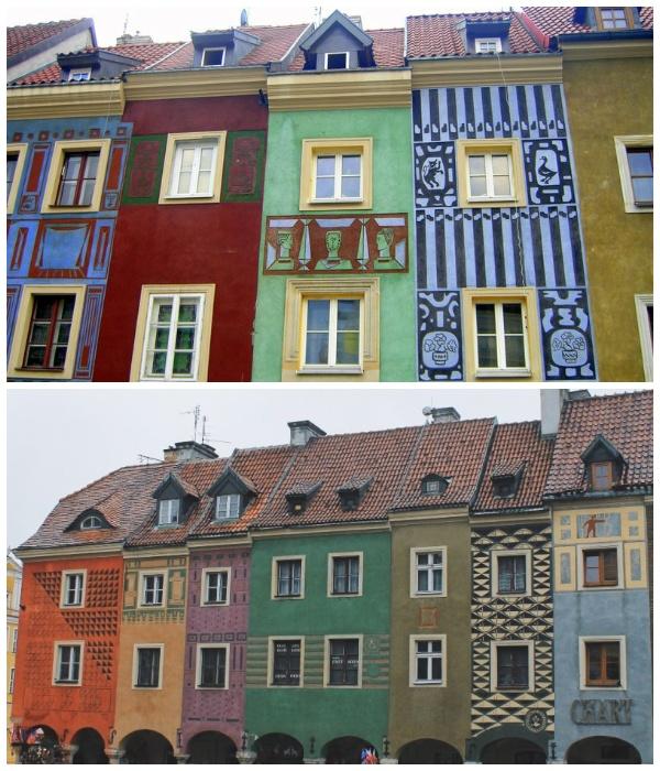 Узкие купеческие дома в Познани (Польша).