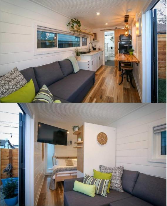Уютная гостиная в контейнерном доме. | Фото: morediva.com.
