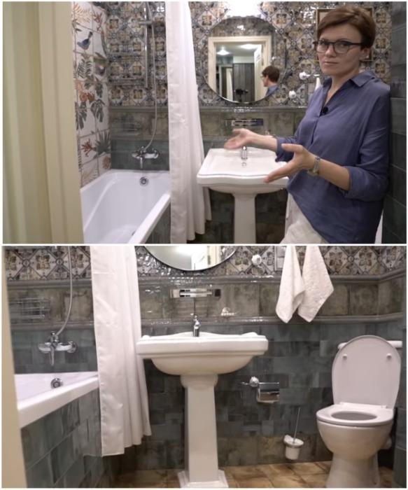 Оригинально оформленная ванная комната совмещена с санузлом. | Фото: youtube.com/ INMYROOM TV.