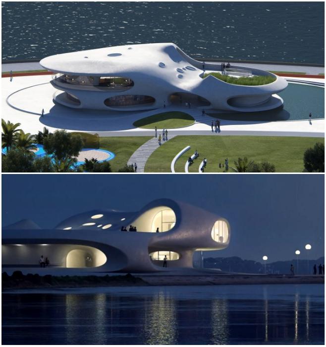 Библиотека «Wormhole» займет одно из главных мест в создании обновленных общественных мест на набережной Хайкоу (концепт, Китай). | Фото: archynaija.wordpress.com/ © MAD Architects.