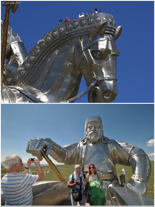 Обзорная смотровая площадка расположена на голове гигантской лошади (Конная статуя Чингисхана, Монголия). | Фото: legendtour.ru/ sentimentaljs.blogspot.com.