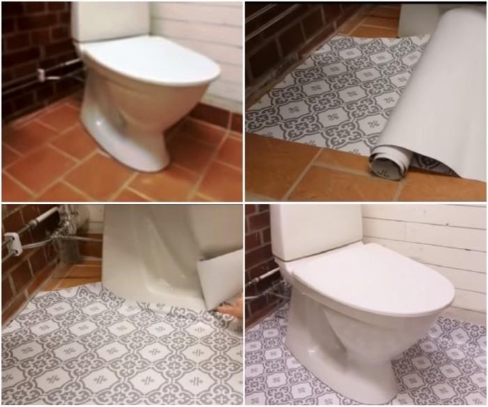 Самый быстрый способ изменить дизайн напольного покрытия в туалете. | Фото: youtube.com.