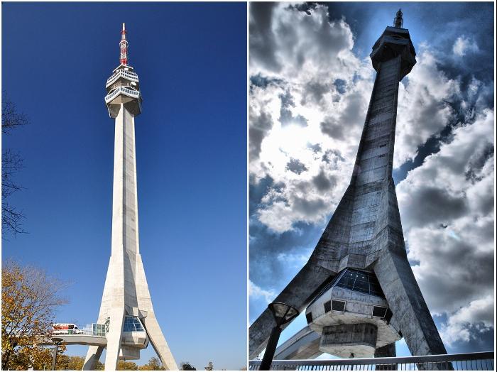 С телебашни Авала открывается восхитительный вид на город, но только в солнечную погоду (Белград, Сербия) .