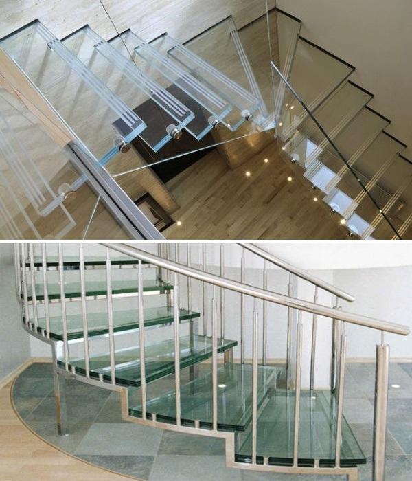 Стеклянная лестница не загромождает интерьер, создает особую атмосферу воздушности и неограниченности пространства. | Фото: a-i-s-t.com.ua.