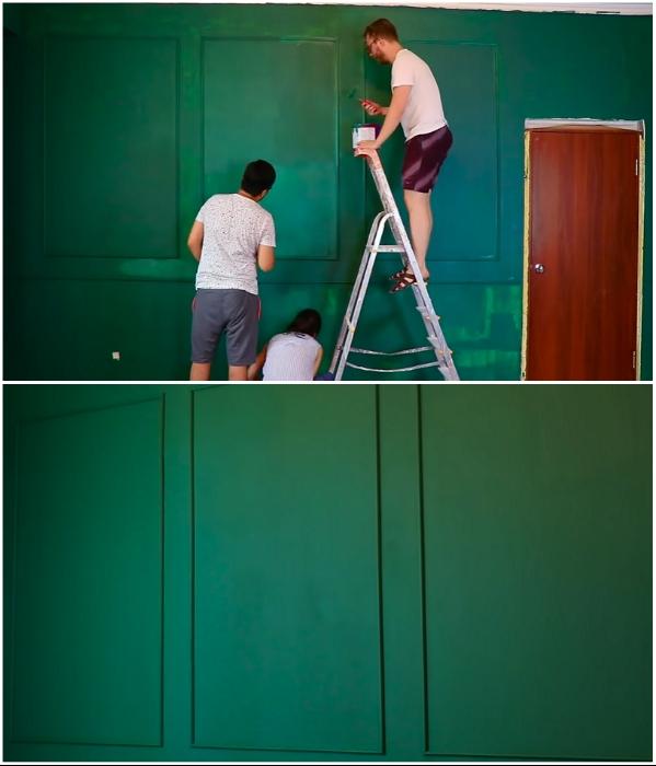 Чтобы получился ровный и плотный цвет, нужно наносить 3 слоя краски. | Фото: youtube.com/ © Fancy smth.