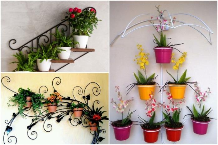 Оригинальный способ украсить стену цветами. | Фото: cpykami.ru.