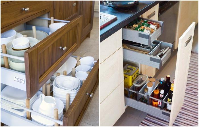 Ящики кухонного гарнитура не стоит перегружать посудой, лучше выбирать небольшие тумбы с выдвижными системами. | Фото: kitchensinteriors.ru/ pinterest.pt.