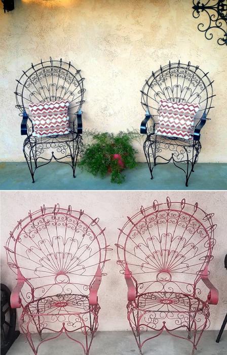 Изящные садовые стулья стали дополнительным украшением патио (So Cal, Калифорния). | Фото: hometalk.com/ © Tiffany.
