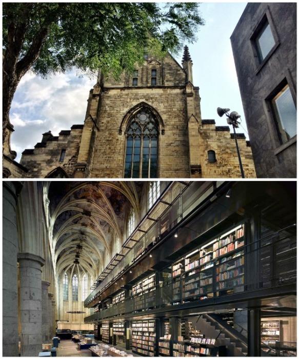 В здании бывшего Доминиканского собора в  Маастрихе открыли книжный магазин Selexyz (Нидерланды). | Фото: mentamore.com.
