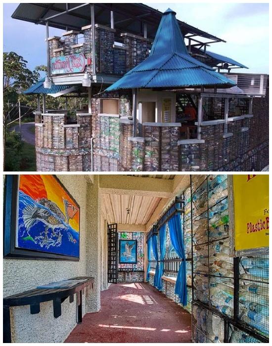 В «Пластиковом замке» обустроены комфортабельные номера и есть терраса, на которой расположено кафе (Plastic Bottle Village, Панама). | Фото: lifter.com.ua.