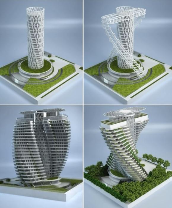 Эко-башня «Зеленой ДНК» – единственный в своем роде конструктивный проект, сочетающий в себе науку механики и искусство эстетики (Тайбэй, Тайвань).