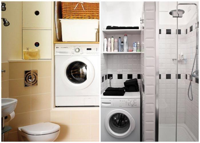 Если в ванной комнате есть ниша, то стиральную машинку целесообразней установить в ней.
