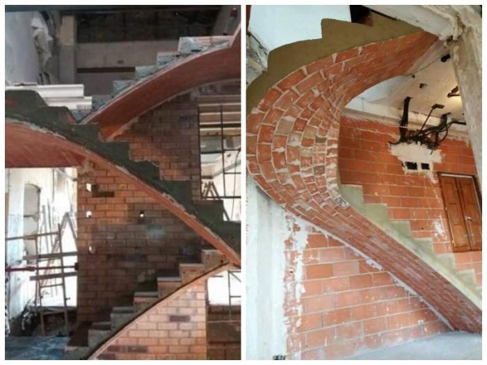 Витиеватая лестница из кирпича может украсить интерьер любого дома. | Фото: pinterest.com.