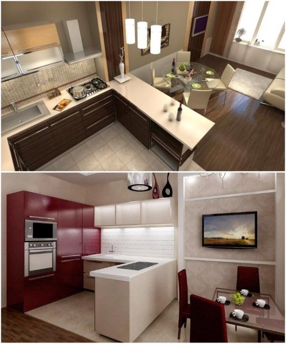 С помощью углового кухонного гарнитура можно зонировать пространство. | Фото: dynasty-dv.ru.