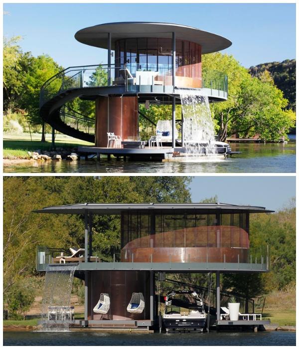 Летняя беседка над водой Bery Chen Home Studio, является прекрасным местом отдыха или проведения дружеской вечеринки (Озеро Остин, США).