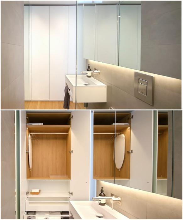 С другой стороны ванной комнаты обустроили гардеробную, которая скрывается за дверкою шкафа («Boneca», Сидней). | Фото: youtube.com/ NEVER TOO SMALL.