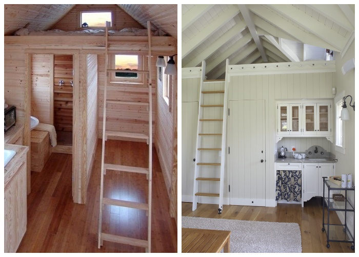 Компактные приставные лестницы занимают мало места и мобильны. | Фото: idei-dlia-dachi.com.