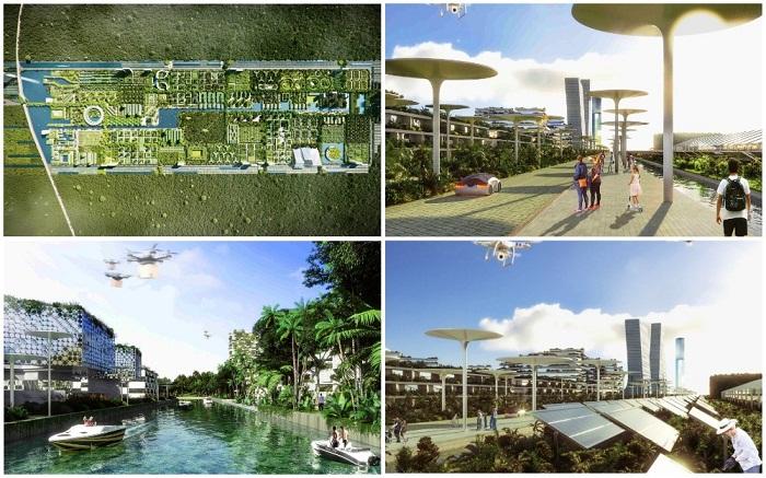 Итальянцы спроектировали энергонезависимый город (визуализация Smart Forest City, Мексика). | Фото: stefanoboeriarchitetti.net.