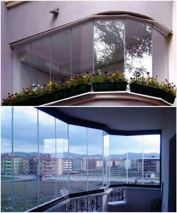 Несмотря на то, что безрамные конструкции позволяют сделать остекление балкона/лоджии любой формы, но при этом утеплить его не удастся. | Фото: remontkvartiri.su.