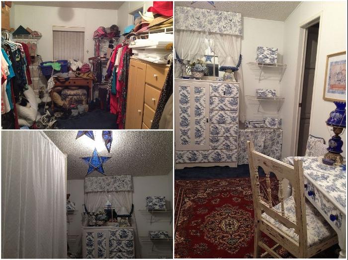 Дебби обновила старую мебель для гардеробной с помощью обычных обоев и лака. | Фото: hometalk.com/ © Debbi W.