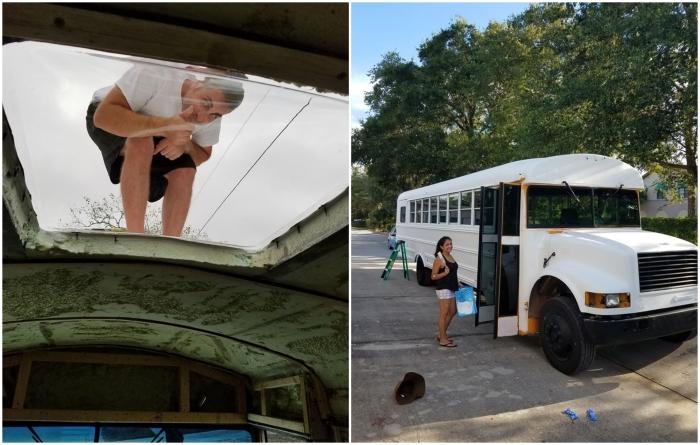 Молодые люди и люк на потолке сделали сами, и даже собственноручно освежили фасад автобуса. | Фото: facebook.com/ © Going Boundless.