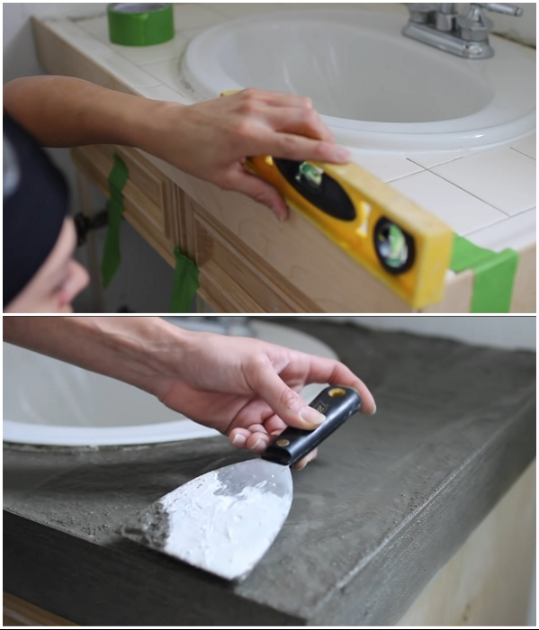 Процесс создания бетонной столешницы. | Фото: youtube.com/ © Living to DIY with Rachel Metz.
