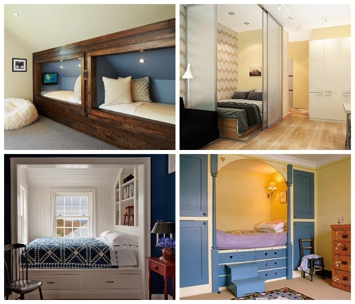 Кровать, спрятанная в нише – идеальный вариант задействовать все имеющиеся площади.