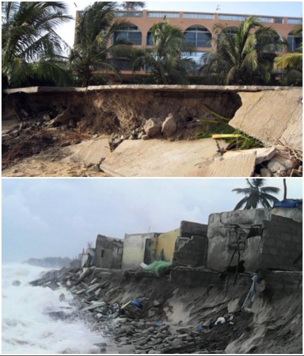 Водная стихия все больше разрушает город (Saint Louis, Сенегал). | Фото: news.africahotnews.com/ KoldaNews.