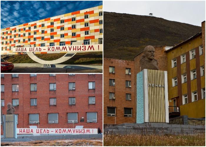 Коммунистические памятники и лозунги сохранились до наших дней (Поселок Пирамида, Архипелаг Шпицберген).