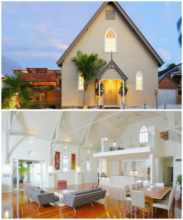 Небольшая церковь в Брисбене превратилась в уютные апартаменты открытой планировки (Австралия). | Фото: telegraf.com.ua.
