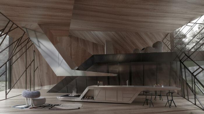 Эффектный дизайн интерьера привлекает своей необычностью и открытостью (концепт Blackbird Cabin). | Фото: stipfold.ge.