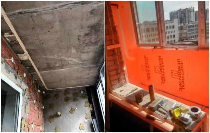 Чтобы реализовать свою задумку, супругу пришлось демонтировать не только подоконник, но и ту отделку, что была сделана строителями. | Фото: jemchyjinka.ru.