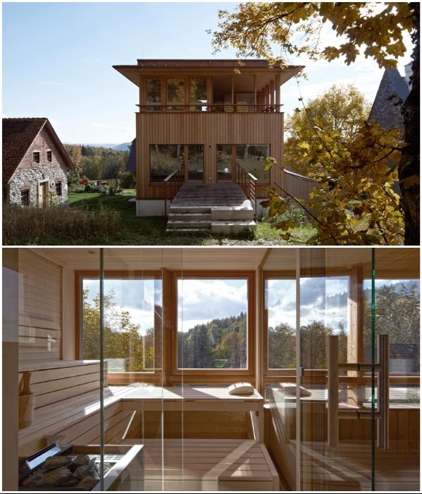 В новой части дома создали зоны отдыха и сауну (Грац, Австрия). | Фото: etoday.ru.