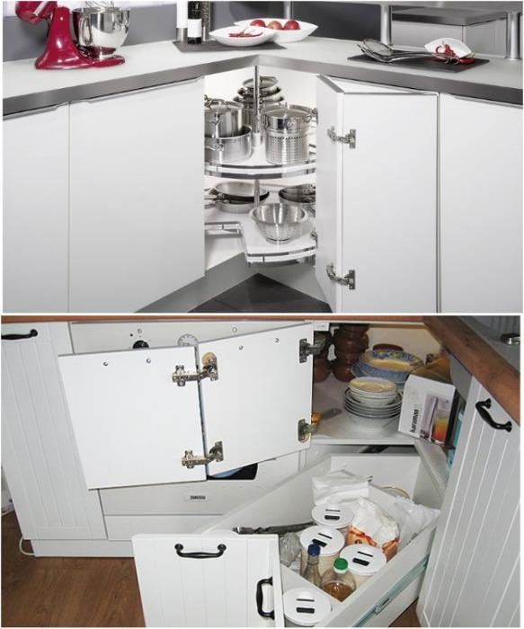Современные выдвижные системы – идеальный вариант для кухонных тумб и шкафов. | Фото: extra-room.ru.