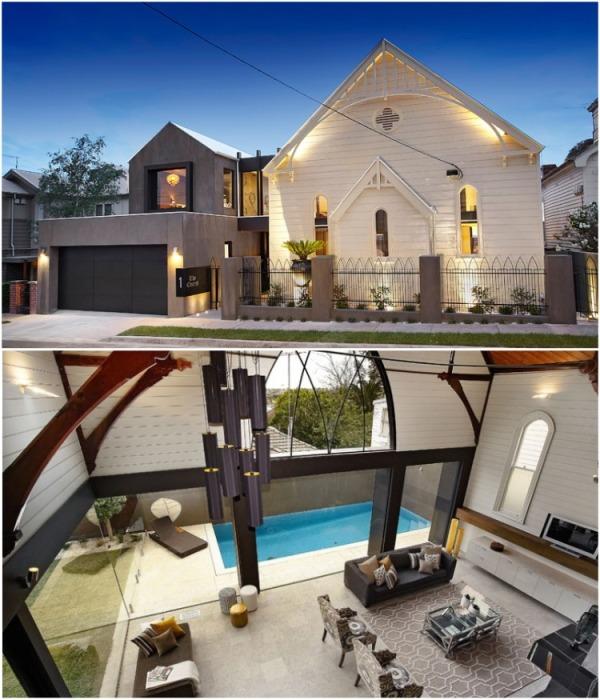 Старинную деревянную церковь превратили в ультрасовременный дом (Мельбурн, Австралия). | Фото: mymodernmet.com.
