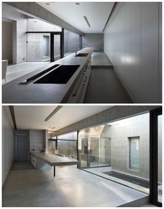 8-метровая «плавающая» кухонная поверхность в «House in Shime» (Фукуока, Япония). | Фото: pikabu.ru.