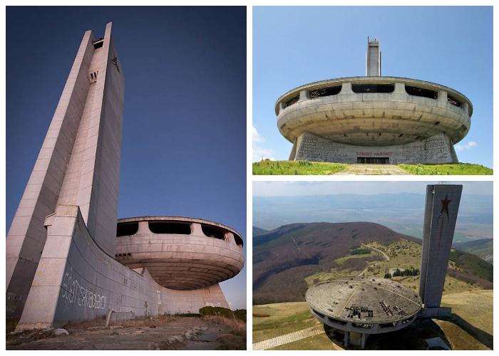 Фантастическая форма полуразрушенного мемориала на вершине горы Бузлуджа (Болгария).
