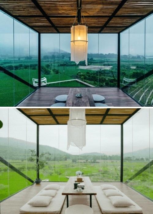 Стеклянная веранда на втором этаже стала идеальным местом для медитаций и размышлений (Гуанчжоу, Китай). | Фото: lovablevibes.co.