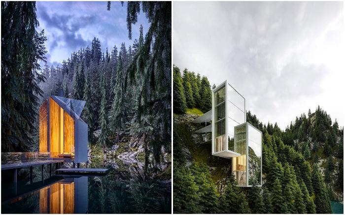 Стеклянный дом в глухом еловом лесу – идеальное место для отдыха на дикой природе.