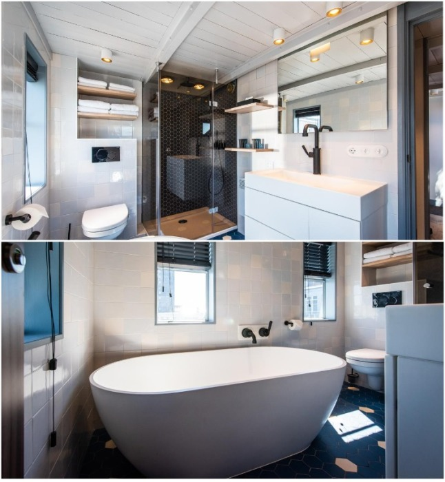 В апартаментах на башенном кране оформили полноценную ванную комнату (Yays Crane Apartment, Амстердам). | Фото: retaildesignblog.net.