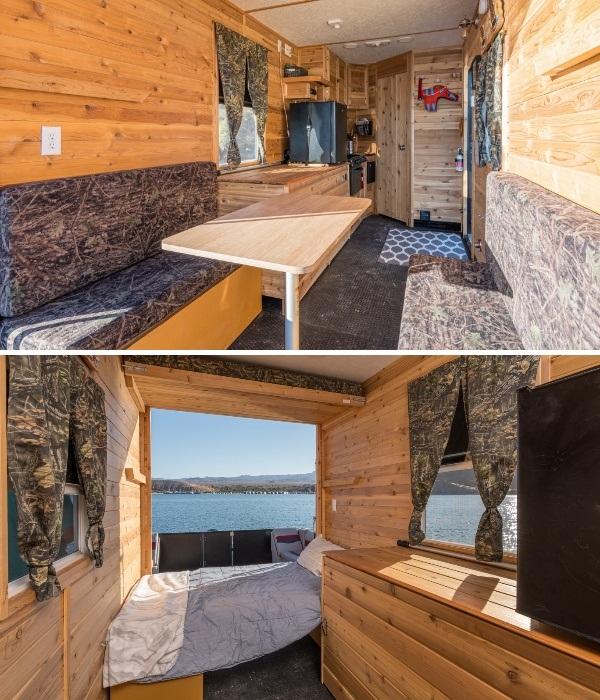 Обеденная зона трансформируется в двуспальную кровать (Heidi-Ho). | Фото: houseboatmagazine.com.