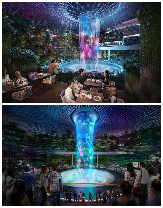 Каждый вечер водопад «Rain Vortex» будет превращаться в развлекательное шоу (Changi Airport, Сингапур).   Фото: realt.onliner.by.