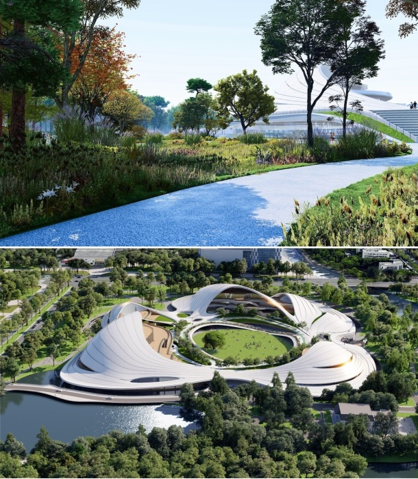 Органичное объединение архитектурных форм и природного ландшафта (концепт Jiaxing Civic Center).   Фото: dailyarchitecturenews.com.